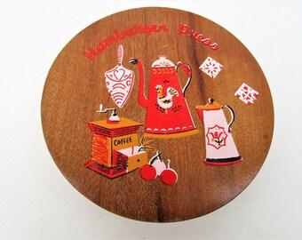 Vintage Hamburger Press   Wood Mold   Kitchen Gadget   Antique Utensil Pattern