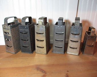 6 Vintage Metal Box Graters, Bilt Rite, Bromco, Bromwell, Primitive, Rustic Kitchen Utensil