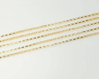 14K gold filled rollo chain for jewelry making, small rollo chain, 1.1mm link, 5 feet