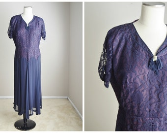 vintage 40s purple lace and crepe dress -- womens medium large