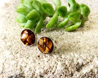 Tiger's Eye Earrings - Raw Stone Stud Earrings - Tailsman Jewelry -Handmade Designer Jewelry