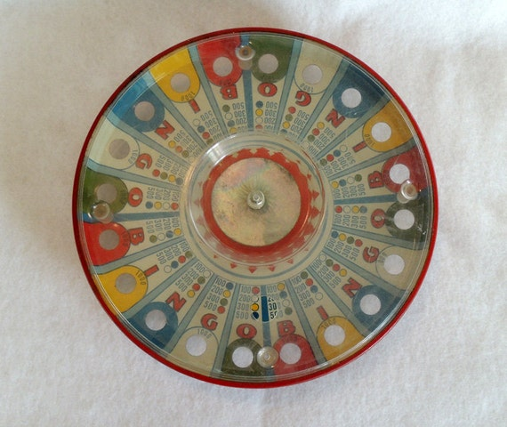 Vintage 1950's Marx Tin Toy Spin It Bingo Game.. Made In USA
