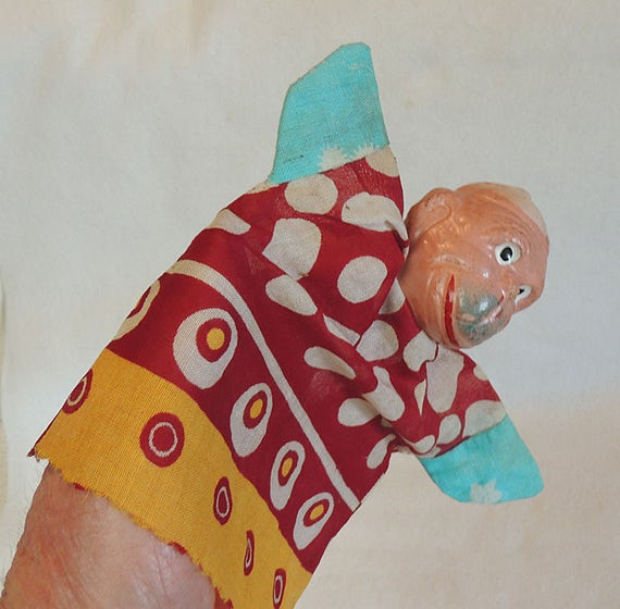 Vintage Hand Puppet.. Monkey With Composition Head