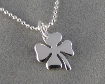 Silver Four Leaf Clover Charm Necklace - St. Patrick's Day, Good Luck
