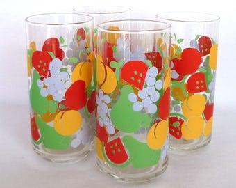 VINTAGE FRUIT GLASSES /set of 4