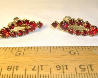Vintage Earrings, Brilliant Red Rhinestones, Circa 1950's to 1960's