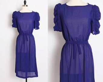 vintage purple indigo sheer dress/ day dress/ secretary dress/ short sleeve/ sweet dress/ flouncy/midi dress/ a line/belted/ striped