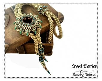 Beading Pattern, Spoked Focal Element, Cubic Right Angle Weave, Lariet Beading Instructions, DIY Beaded Jewelry Tutorial,  CRAWL BERRIES