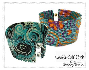 Beading Patterns, Instructions, Tutorials, Peyote Bead Chart Word Chart peyote Double Cuff Pack Instant Download Pattern DUO PACK