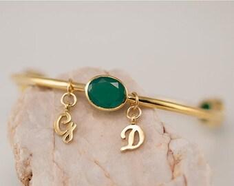 40 OFF - Personalized Charm Bangle - Green Onyx Bracelet - Gemstone Bangles - Bezel Set Bangles - Initial Charm Bracelets