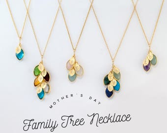 Personalized Mothers Day gift for grandma - family tree necklace- Mothers Birthstone Necklace - Grandma Necklace - Nana Gift Jewelry