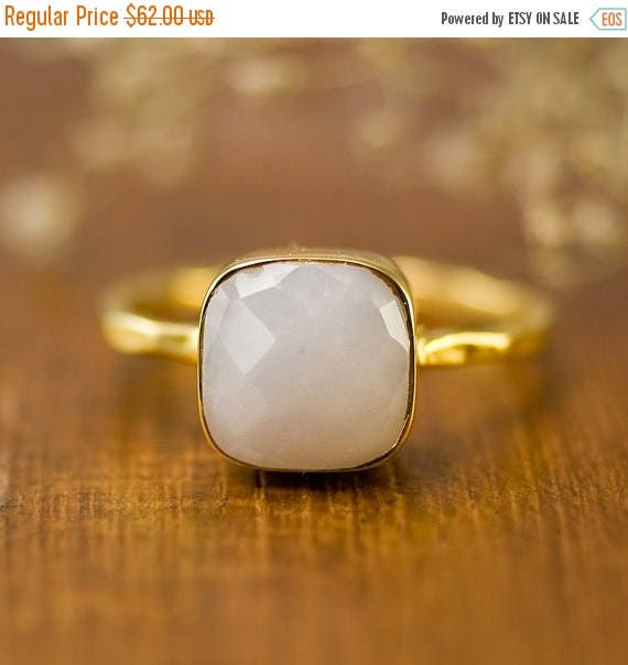 40 OFF - White Agate Cushion Ring - White Stone Ring - Stacking Ring - Gold Ring- Cushion Cut Ring - Bridal Ring - Mother's Ring