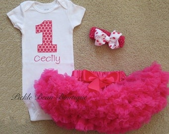 Baby Girl 1st Birthday Outfit, Personalized Bodysuit, Hot Pink Pettiskirt, Girls First Birthday Outfits