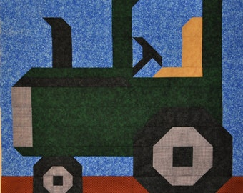 Tractor Quilt Pattern in 3 Sizes - PDF