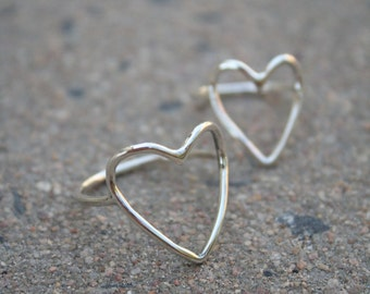 heart ring sterling silver open heart ring delicate ring feminine jewelry