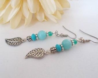 Turquoise Jewelry Boho Earrings, Turquoise Leaf Earrings, Blue Agate Earrings, Stone Beaded Earrings, Clip On Earrings, Gift for Daughter