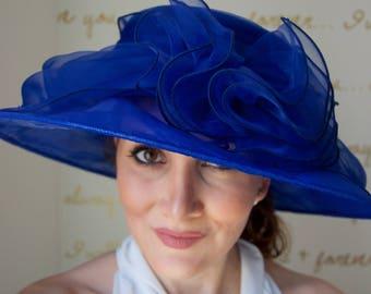 "Royal Blue Sun Hat - ""Belle"" Royal Blue Crystal Organza Hat w Flower Embellishment"