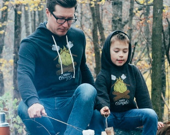 Happy Camper Matching Hoodie Set. Father son, father daughter, adult kid companion, Father's Day gift, camping outdoorsy family