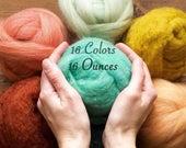 Needle Felting Wool Assortment, YOU CHOOSE 16 Colors // 16 Ounces, 1 Pound, Mix and Match, Roving, Batting, Fiber Sampler, Wet Felting, DIY