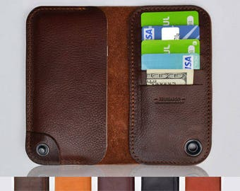SAMSUNG GALAXY S8 PLUS leather wallet case - 100% Italian cow hide leather