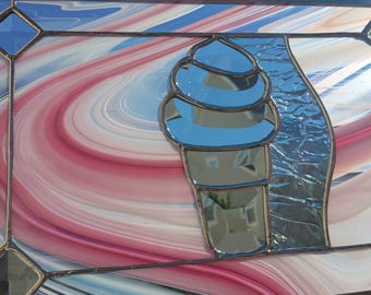 Stained glass Ice Cream Cone Bevel Panel