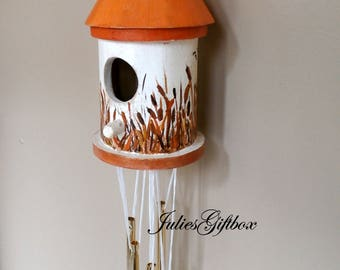 Wind Chime Birdhouse Hand Painted--Decorative Windchime Cattails-Goldtone Chimes-OOAK