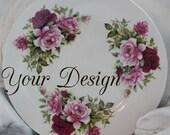 Customizable Floral Plates, Personalized Dishes, Custom China, Monogram Plates, Rose Plates, Foodsafe, Dishwasher / Microwave Safe, Bespoke