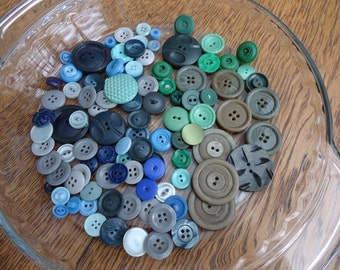 Lot Blue, Green and Gray Buttons,  30 green buttons and 72 blue/gray buttons, 102 total buttons