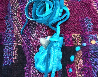 Silver-painted Blue Deerskin Medicine Bag with Silver Heart, Hand Painted Amulet Pouch with Silver Heart Charm Necklace