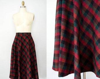 50% CLEARANCE SALE / vintage plaid wool skirt / full knee length plaid skirt / small