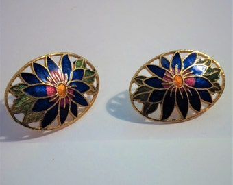 Gold Floral Pierced Earrings: Blue Lotus Flower-Lily Cloisonne Enameled Style w/ red & yellow center, green leaves -aquatic flowering plants