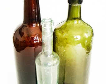 Three Vintage Glass Bottles, Vintage Brown Glass Bottle, Vintage Green Glass Bottle, Vintage Brown Clear Bottle