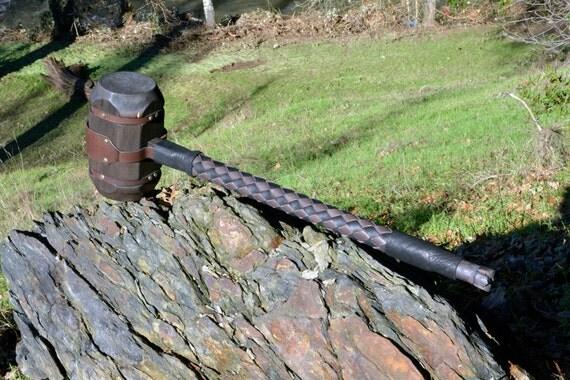 Viking or Barbarians War Hammer With Skull Crushing Pommel