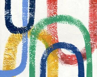 "U-Turn: Original abstract Encaustic painting on cradled wood panel, 20""x20"" square, geometric modern art"