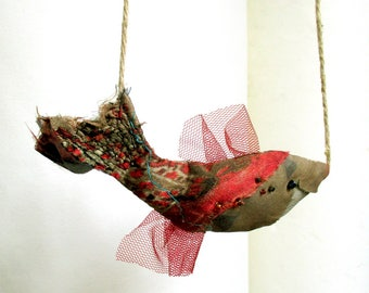 Red Brown Fish textile pendant
