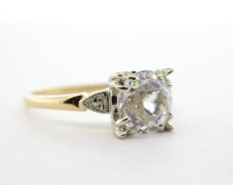 14k Art Deco Lab Created White Sapphire Engagement Ring- Size 7.25