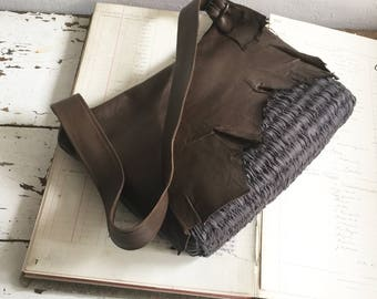 Handbag in Brown Leather and Slate Weave Rugged Natural Edges - Made to Order