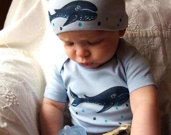Whales for Babies Organic Cotton Bodysuit and Matching Hat Set Perfect shower gift sex unknown, Sea theme baby clothes