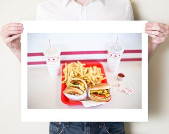 In-N-Out Burger cheeseburgers, fast food photography print. Kitchen artwork, burgers & french fries photo. Americana decor. Large pop art