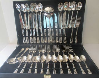 Wm. Rogers & Son Enchanted Rose Silverplate China Service for 12 Extras Case