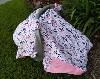 Baby Car Seat Canopy For Girls  -  Nautical Anchors - Anchors for Girls