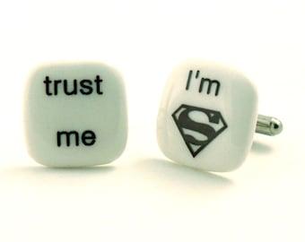 Trust Me Cufflinks Porcelain I Am Superman Superhero Comics Marvel Movie Gift Present Mismatched Fathersday Funny Handmade White Humor Fun