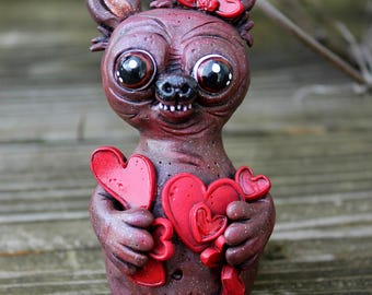 Love Bear Polymer Clay Sculpture