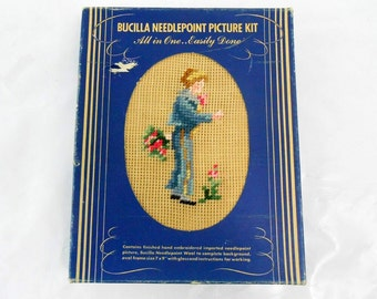 Antique Bucilla needlepoint picture kit new old stock Blue Boy needlepoint kit antique oval frame with glass sewing kit with frame