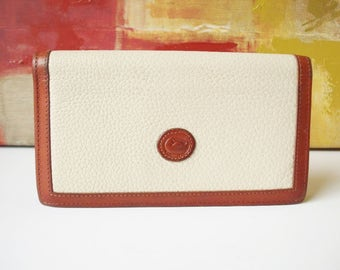 DOONEY and BOURKE Checkbook Cover Ivory and British Tan Leather with Calculator