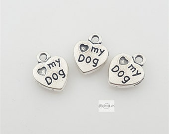 heart my dog little tags-Shop sale-50 pcs words charms-T1391-lovely pet charm