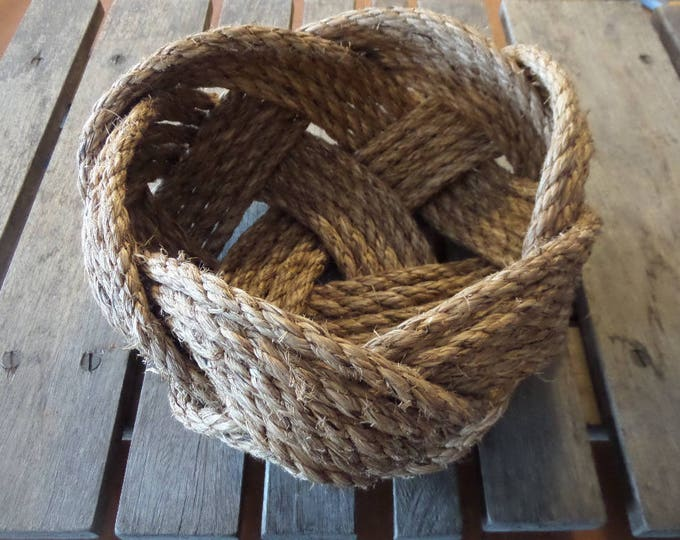 """FREE SHIP Nautical Knotted Rope Bowl Basket 10"""" x 5"""" Tightly Woven Beach Marine Ocean Coastal"""
