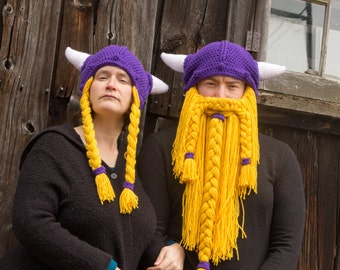 Viking Couple Hats, Custom Made to Order Crochet Hats, Teen or Adult Size, Bearded Viking Hat, Viking with Braids, Couple Costume Cosplay