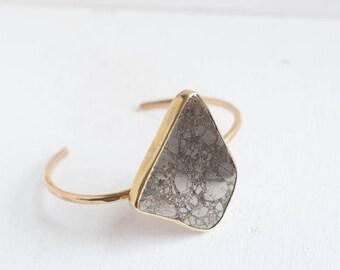 Freeform Pyrite Bracelet | Brass