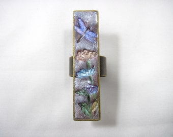 Handmade Polymer Clay Dragonfly & Flowers Bronze Adjustable Ring